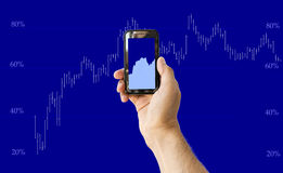 Mobile Phone with Financial Charts Royalty Free Stock Image