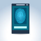 Mobile phone with fingerprint scan. Illustration of mobile phone with fingerprint scan Royalty Free Stock Images