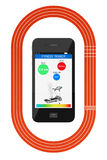 Mobile Phone with Fitness Tracker Application and Running Track Stock Photography