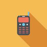 Mobile phone flat icon with long shadow. Cartoon vector illustration stock illustration