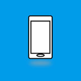 Mobile phone flat icon. White mobile phone sign simple designed Stock Photo