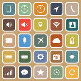 Mobile phone flat icons on brown background Royalty Free Stock Photo