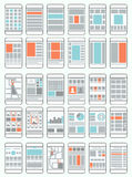 Mobile phone flowcharts, wireframes Stock Photography