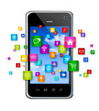 Mobile Phone and flying apps icons. 3D Mobile Phone with flying apps icons - isolated on white Stock Image
