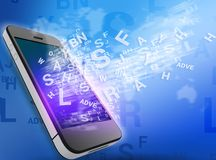 Mobile phone and flying letters from the screen. Royalty Free Stock Images