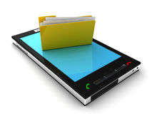 Mobile phone and folder Royalty Free Stock Photo