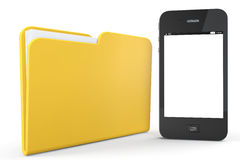 Mobile Phone with Folder Stock Images