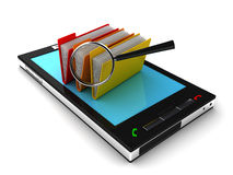 Mobile phone and folders. Mobile phone and Search folders or archive. 3D render royalty free illustration