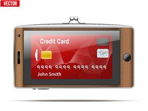 Mobile phone in the form of a wallet. Electronic Stock Photos