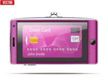 Mobile phone in the form of a wallet. Electronic Stock Photography