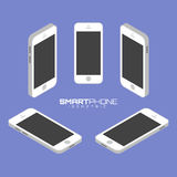 Mobile phone from four sides icon set vector graphic illustration. Royalty Free Stock Images