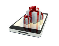 Mobile phone with free gifts Royalty Free Stock Images