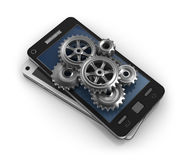 Mobile phone and gears. Application development concept. My own design.  3D image Stock Images