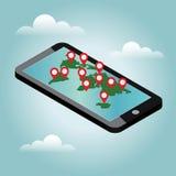 Mobile phone geo location. Smartphone gps navigator. Gps navigation icon. World map. Vector illustration Royalty Free Stock Photo