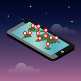 Mobile phone geo location. Smartphone gps navigator. Gps navigation icon. World map. Vector illustration Royalty Free Stock Photography