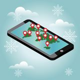 Mobile phone geo location. Snow winter day. Waiting for a Christmas and New Year around the world. Smartphone gps. Gps navigation icon. World map. Vector Royalty Free Stock Photo
