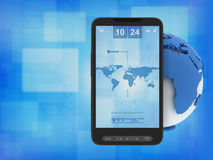 Mobile phone and globe Royalty Free Stock Photo