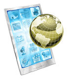 Mobile Phone Globe Concept. Internet concept illustration. Phone with illuminated globe flying out of screen Stock Images
