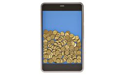 Mobile phone with gold coins.3D illustration. Mobile phone with gold coins. 3D illustration Stock Images