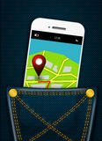 Mobile phone with gps application in jeans pocket Stock Image