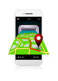 Mobile phone with gps application and map  over white Stock Photos
