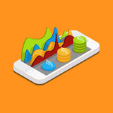 Mobile phone with graphs and reports. In the form of diagrams. phone settings, parameters, quotes, curves, diagrams. Vector Isometric 3d phone Royalty Free Stock Images