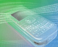 Mobile phone green Stock Image