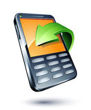 Mobile phone and green arrow Royalty Free Stock Images