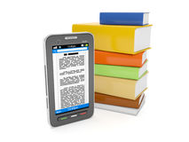 Mobile phone and a group of books. 3d illustration: E-Books. Mobile phone and a group of books Royalty Free Stock Photo