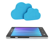 Mobile phone and a group of clouds Royalty Free Stock Images