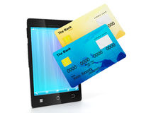 Mobile phone and a group of credit cards Stock Photos