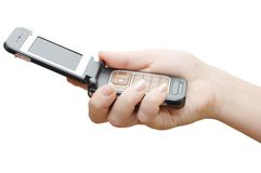 Mobile phone in hand Stock Image