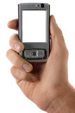 Mobile phone in hand. Isolated on white background royalty free stock images
