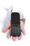 Mobile phone in the hand royalty free stock image