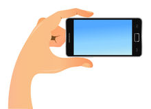 Mobile phone in hand. Illustration of a mobile phone in hand close-up