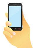 Mobile phone in hand. Illustration of a mobile phone with the  hand close-up Royalty Free Stock Images