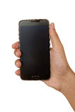 Mobile phone in hand. Black mobile phone in hand isolated on white background Stock Photos