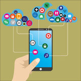 Mobile phone  with hand and cloud of icons Royalty Free Stock Photography