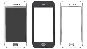 Mobile Phone Hand Drawn Vector Icon Set. Isolated on white background Royalty Free Stock Photo
