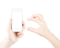 Mobile phone in hand Stock Images
