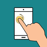Mobile phone in hand icon. Royalty Free Stock Photography
