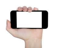 Mobile phone in hand isolated Royalty Free Stock Photos