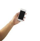 Mobile phone in hand isolated on white background. Stock Images
