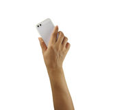 Mobile phone in hand isolated on white background. Royalty Free Stock Photo