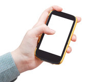 Mobile phone in hand isolated on white Stock Image