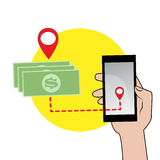 Mobile phone in hand and money icon Royalty Free Stock Images