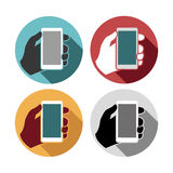Mobile phone in hand set icons Stock Images