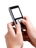 Mobile phone in the hands of the blank screen Royalty Free Stock Images