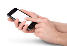 Mobile phone in hands Stock Images