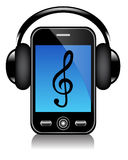 Mobile phone with headphones Stock Image